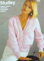 "Ladies Summer Long Sleeve Cardigan Knitting Pattern Vintage DK  28-46"" S1245"