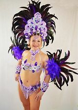 BRAZILIAN PINK/SILVER SHOW GIRL SAMBA CABARET COSTUME bikini/CUSTOM MADE