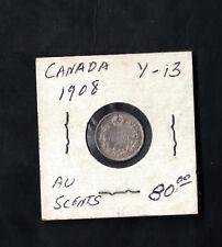 1908 Canada 5 Cents # Y 13 Silver Coin