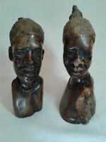 Vintage Hand Carved Wood African Man & Woman made in Zimbabwe