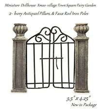 Miniature Dollhouse village Town Square ivory antiqued pillars Wrought Iron gate