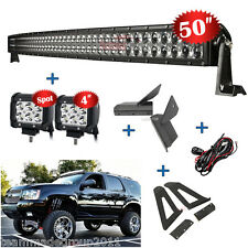 """50inch 672W Curved + 4"""" 18W LED Light Bar Mount Bracket Fit For Jeep Cherokee XJ"""