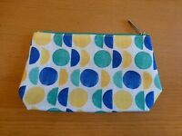 Clinique Blue, White & Yellow Spot Design Make up / Purse / Cosmetic Bag. New.