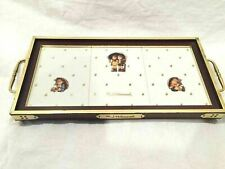 Danbury Mint Hummel Wood Tile Serving Tray Vintage Goebel Umbrella Boy Girl Gold