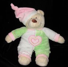 "Baby Ganz Bedtime Bear Green Pink White Plush Soft Toy Stuffed Heart 12"" Rattle"