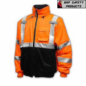 Hi-Vis Insulated Safety Bomber Reflective Jacket Coat HIGH VISIBILITY ORANGE