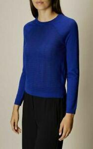 Karen Millen Sporty Textured Blue Knit Stretch Wool Rich Jumper Top M 12 40 New