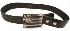 MINT KING BABY STUDIO MAN BUCKLE BELT CROWN SILVER THICK LEATHER WAIST 33-40 IN