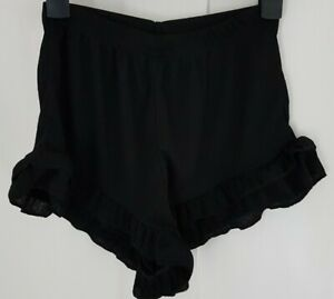 PrettyLittleThing Black Frill Hem Shorts Size 8 new without tags