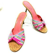 Coach Bree Sandals Sz 7.5  Pink Multi Ribbon Bow & Cork Kitten Heel Slides Italy