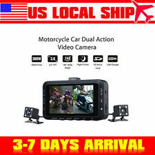 "3"" Motorcycle DVR Video Camera HD Driving Recorder Double Lens Night Vision"