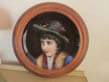 Antique Continental Hand Painted Plaque of Boy KPM Style