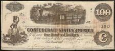 1862 1863 $100 CONFEDERATE STATES CURRENCY CIVIL WAR NOTE OLD PAPER MONEY T-40