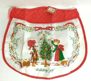 Holly Hobbie Vintage Christmas Apron Trimming the Tree Red