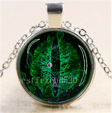 Green Dragon Eye Photo Cabochon Glass Tibet Silver Chain Pendant Necklace#O6P