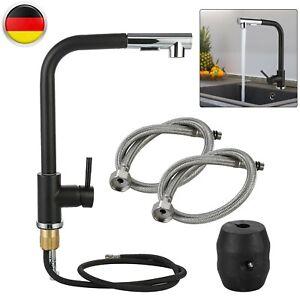 Küchenarmatur 360°Ausziehbar Spültisch Mischbatterie Einhebel Amatur Schwarz