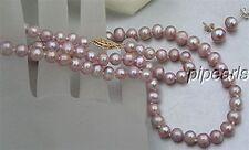 "14KG 7mm Genuine Natural Lavender Pearl Necklace Earrings Set 16"" or 18"" or 20"""