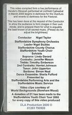 VHS PAL VIDEO MILLENNIUM MESSIAH HANDELS LICHFIELD CATHEDRAL STAFFORDSHIRE