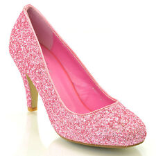 52378ed63ee3 Womens Glitter Shoes Bridal Slip On Low Heel Ladies Evening Party Courts  Size