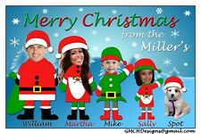 Holiday Christmas Personalized Card with Family Photos Unique Fun Santa