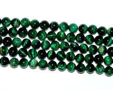 Tigerauge Perlen Kugeln in 6 - 12 mm grün mit Schimmer, 1 Strang Edelstein #4165