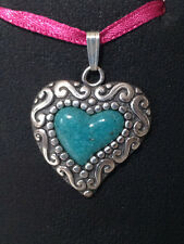 South Western Sterling Silver Turquoise Inlay Heart Pendant 3cm