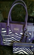 New Coach Legacy Candace Purple Zebra  Satchel Purse Leather w/wristlet wallet