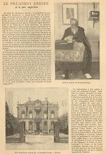 PRESIDENT KRUGER UTRECHT PAIX PEACE ENGLAND BOER ARTICLE DE PRESSE 1902