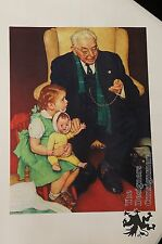 "Norman Rockwell ""My Dollie is Sick Doctor"" Lithograph Print Upjohn Advertisement"