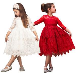 Kinder Mädchen Prinzessin Spitzenkleider Festlich Kleidung Abendkleid Partykleid