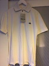 Authentique VW Vivienne Westwood Man Orb Blanc à Manches Courtes Polo Shirt Taille L
