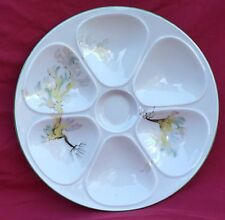 Vintage French Hand Painted Porcelain Oyster Plate Seaweed Berry 1960 D