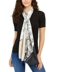 MSRP $50 Calvin Klein Asymmetrical Floral-Print Scarf Beige One Size