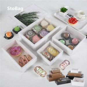 Box Paper Transparent Carton Food Cookies Sweets Desserts Cover Gift Event Party