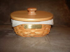 Longaberger 2002 Hostess Appreciation Lucky Charm Basket Set with Lid - Oatmeal