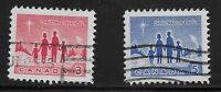 Canada Scott #434-35, Singles 1964 Complete Set FVF Used