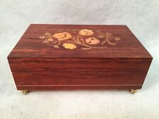 "Vintage Lacquered Floral Wooden Musical Jewelry Box ""Isle Of Capri"""