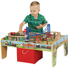 Kids Train Set Activity Table Wooden Playset Thomas 50-Piece 2in1 Christmas Gift