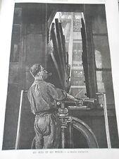 Gravure 1886 - Les Mines et les Mineurs La Machine d'extraction