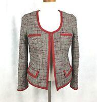 BANANA REPUBLIC Women Tweed Peplum Red Black White Collarless Open Jacket 8