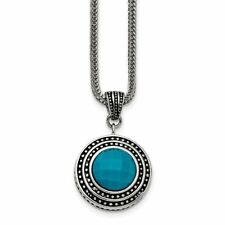 "Antiqued Pendant and 18"" Necklace Chisel Stainless Steel Imitation Turquoise"