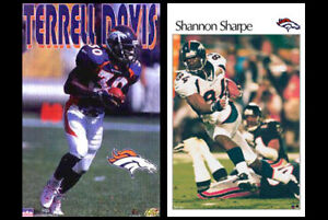 Classic 1990s Denver Broncos 2-Poster Combo Set - TERRELL DAVIS, SHANNON SHARPE