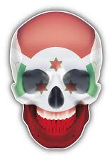 Burundi Flag Skull Car Bumper Sticker Decal 3'' x 5''