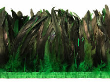 "1 Yard - 10-12"" Kelly Green Dyed Over Natural Coque Tails Long Feather Trim Bulk"