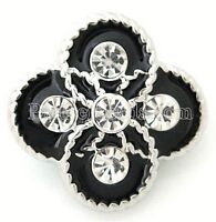 Black Silver Flower Clear Rhinestone 20mm Snap Charm Jewelry For Ginger Snaps