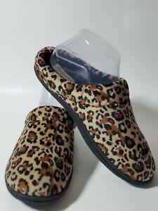Dearfoams Leopard Slippers Slip On Size 9 - 10 Brown Black Beige Rubber Outsole