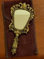 Ornate Brass Baroque Hand Held  Makeup Mirror Antique Vanity Mirror