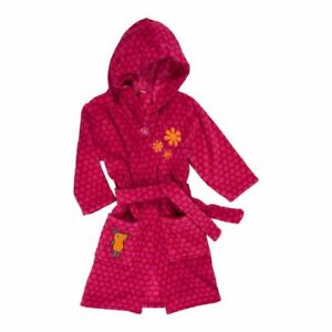 Playshoes Girl Bathrobe Fleece Sweet Dressing Gown Hood Kids Bathrobe 5-6 age