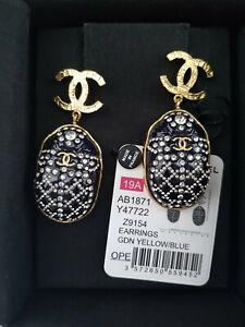 NWT CHANEL PRE-FALL 19A Scarab Blue/Gold Earrings