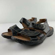 Josef Seibel Women 40 US 9 - 9.5 Black Leather Sandal Open Toe Strap Shoe